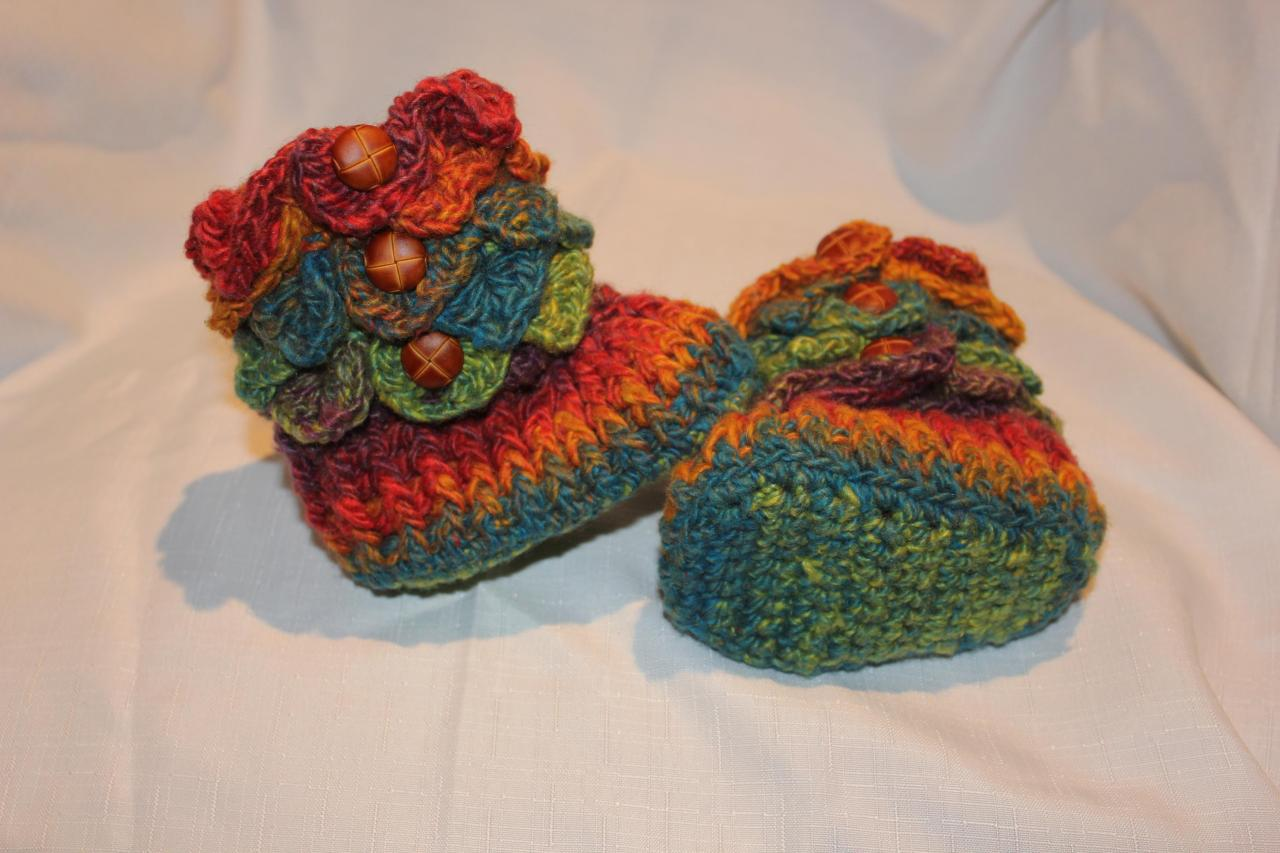73004f0f730 Made TO ORDER Handmade Crochet RAINBOW Baby Crocodile Stitch Booties   Size  6 to 12
