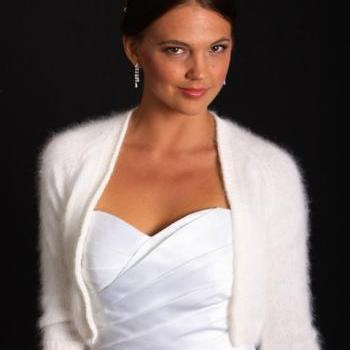 Ready to be shipped TODAY /Kate Middleton Angora hand knit v-neck No buttons three-quarter sleeve crop/ bridal bolero/ IVORY in Size Small
