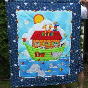 Ready to be shipped/ Handmade Hand Quilted Baby Blanket The Noah's Ark / Fish, Butterfly, Pandas, Elephants and Giraffes
