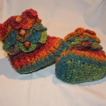 Made TO ORDER/Handmade Crochet RAINBOW Baby Crocodile Stitch Booties / Size 6 to 12 months