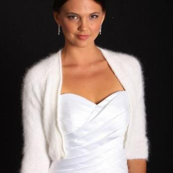 Made to order/Kate Middleton Angora hand knit v-neck No buttons three-quarter sleeve cropped/ bridal bolero IVORY/ Size S