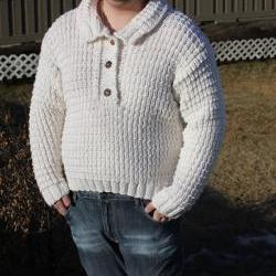 Ready to ship/Natural Superfine merino wool HANDMADE Knitted Sweater with Collar/ Unisex/ will fit size M to 2X Large