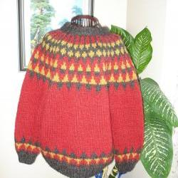 Ready to ship/Autumn Leaves Colorful Lopi Sweater- Handmade- Knitted- Wool /Size LARGE